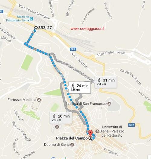 A Siena, in Piazza del Campo, in treno